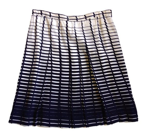 Pleated A-Line Navy Blue and White Patterned Skirt  by LaCroisette