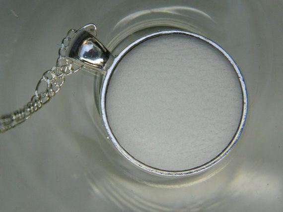 White leather button pendant  Girlfriend gift by LittleRubyAtom