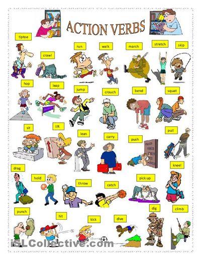 ACTION VERBS worksheet - Free ESL printable worksheets made by teachers