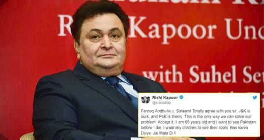Rishi Kapoor Again Gets Trolled By Twitteratis For Tweeting About Jammu&Kashmir And PoK