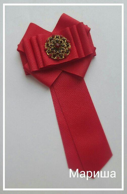 Купить Галстук-брошь - разноцветный, брошь ручной работы, галстук, репсовая лента, булавка для броши