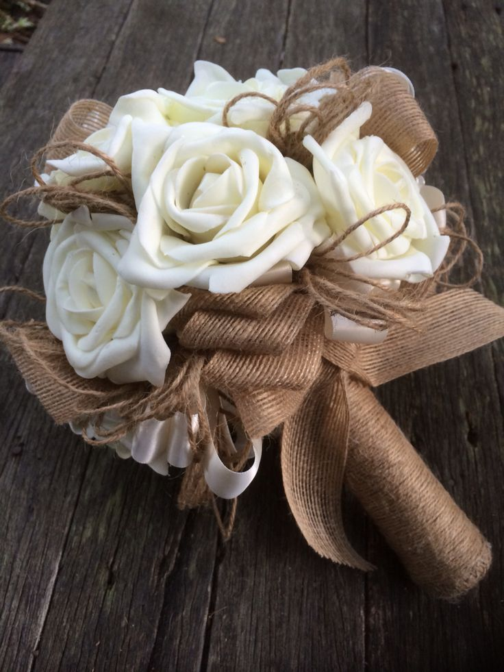 Ivory foam rose and hessian bouquet