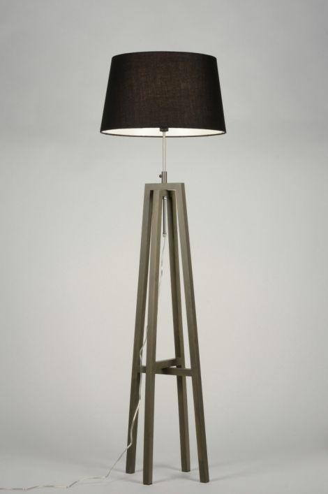 Vloerlamp 30436 modern retro hout stof grijs groen zwart rond