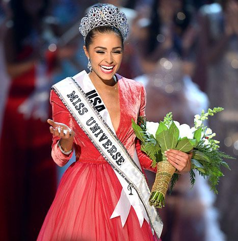 Miss USA, Olivia Culpo walks on stage after being named Miss Universe 2012 during the Miss Universe Pageant at Planet Hollywood in Las Vegas, Nevada on December 19, 2012.