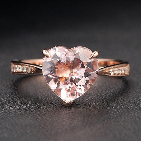VS 8mm Heart Shaped Morganite Diamonds 14K Rose Gold by ThisIsLOGR, $315.00