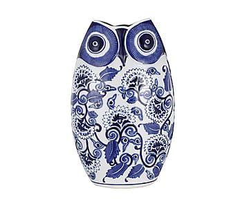 Керамическая сова - керамика - синий, 21х12х36 см
