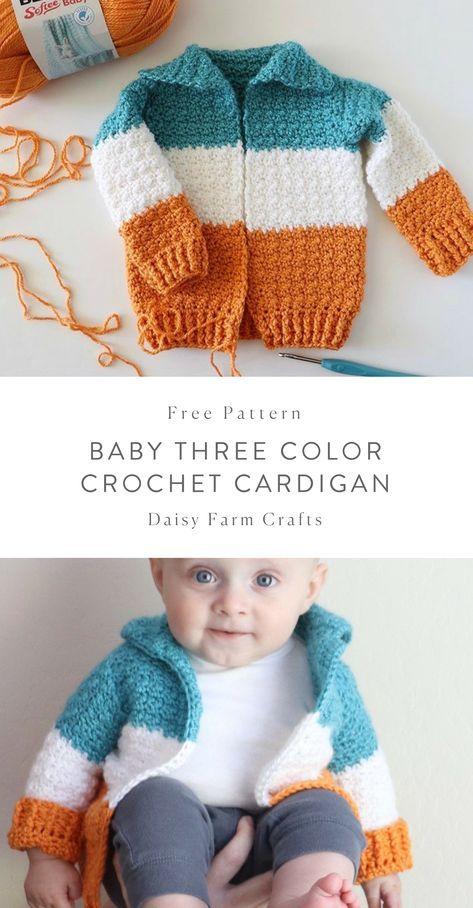 Free Pattern - Baby Three Color Crochet Cardigan | NIÑOS | Croché ...
