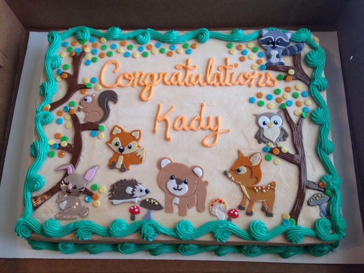 Woodland animal baby shower cake!