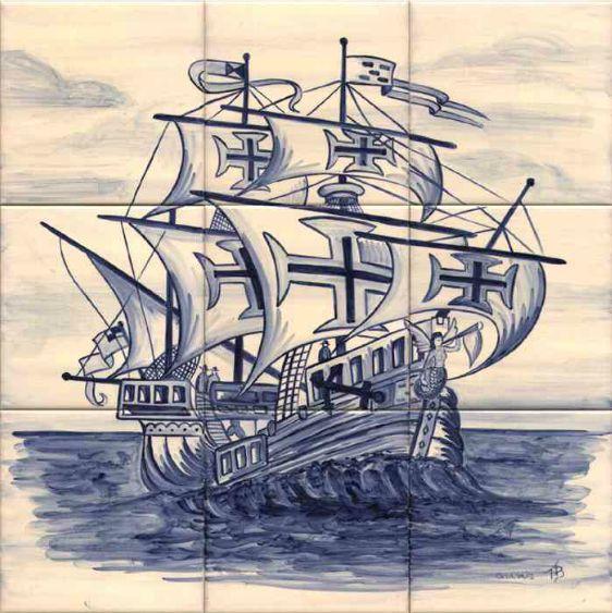 #azulejos #bateau réf: cerb_264_11_1 #mer #carrelage #tile #boat #sea #decoration #bleu #blue