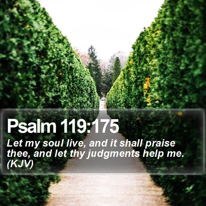 Psalm 119:175 Let my soul live, and it shall praise thee, and let thy judgments help me. (KJV)  #Word #Theology #Jesus #Meditation #Psalm #PositiveQuote #WordOfLife http://www.bible-sms.com/