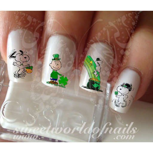 Saint Patrick's Day Nail Art Snoopy Clover Water Decals Wraps Slides