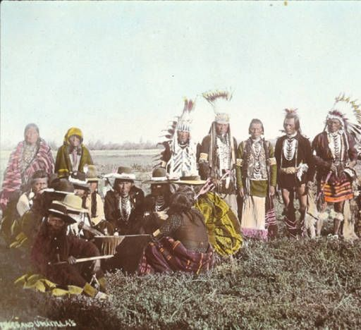 Nez Perce and Umatilla men & women gather for powwow, ca. 1900 :: American Indians of the Pacific Northwest