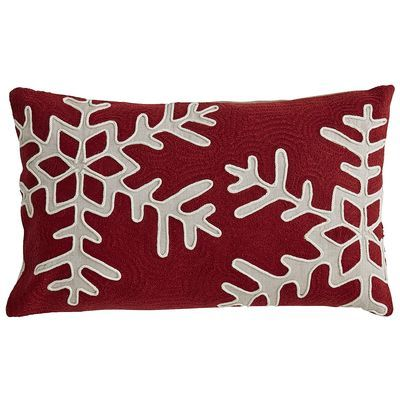 Chainstitch Snowflake Pillow - Red