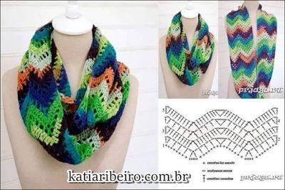 Katia Ribeiro Crochê Moda e Decoração Handmade : Cachecol Fácil Ponto Chevron com gráfico e pap em ...