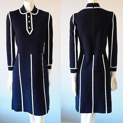 Vintage-100-Wool-Black-Dress-Shift-Long-sleeves-British-Colony-of-Hong-kong-8
