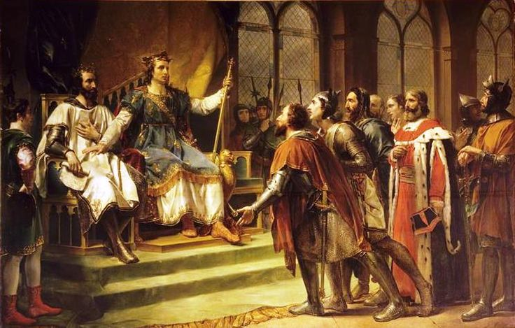 Saint Louis médiateur entre le roi d'Angleterre et ses barons, Georges Rouget, 1820, Château de Versailles.