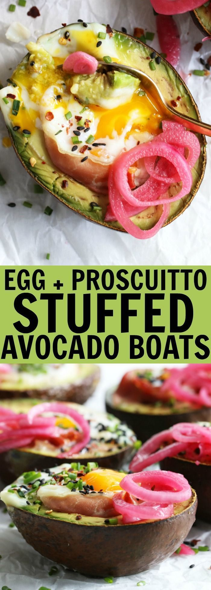 You'll love these Egg + Prosciutto Stuffed Avocado Boats for your next brunch!! This is such a tasty low carb, gluten free, and paleo recipe that is guaranteed to bring the smiles! thetoastedpinenut.com #lowcarb #keto #glutenfree #paleo #dairyfree #breakfast #brunch #avocado #boat #egg