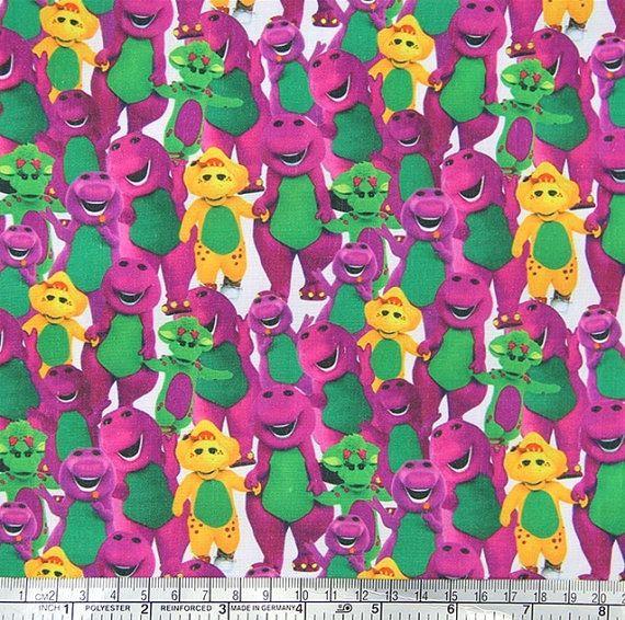 barney the dinosaur fabric by Cutiesbymarce on Etsy