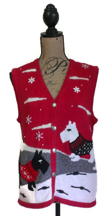 Bobbie Brooks Cotton Blend Scottie Dog Schnauzer Sweater Vest Size XL (16/18) #BobbieBrooks #VestSleeveless