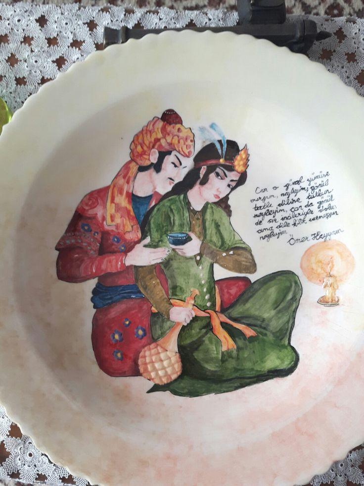 Çini tabak Ömer hayyam handmade benim yaptıklarım
