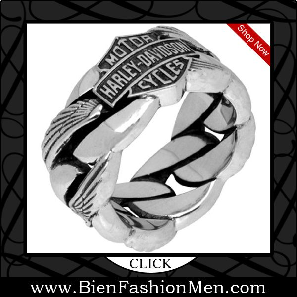Mens Bold Rings | Mens Bold Ring | Mens Rings | Bold Rings | Mens Jewelery | Jewelry on Men | Jewelery for Men | Men Jewellry | Male Jewellery | Chunky Rings | Affordable Rings | Shop Now ♦ Harley-Davidson .925 Silver Heavy Wing Chain Mens Ring $216.00