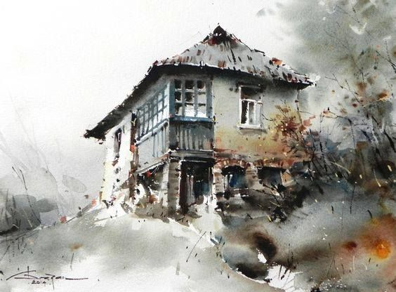 Incredible watercolor Landscape painting by Corneliu Dragan Targoviste