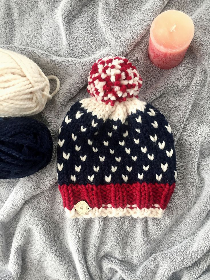 Chunky Knit Hat/Knit Hat/Pom Pom Hat/Fair Isle Hat/Knit Beanie/American Flag Hat/Women's Hat/Americana Beanie/Patriotic Hat/Red White Blue