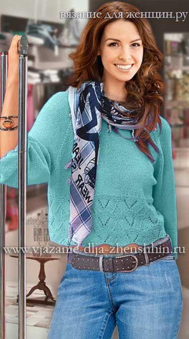Вязаный пуловер реглан с описанием и схемами вязания спицами