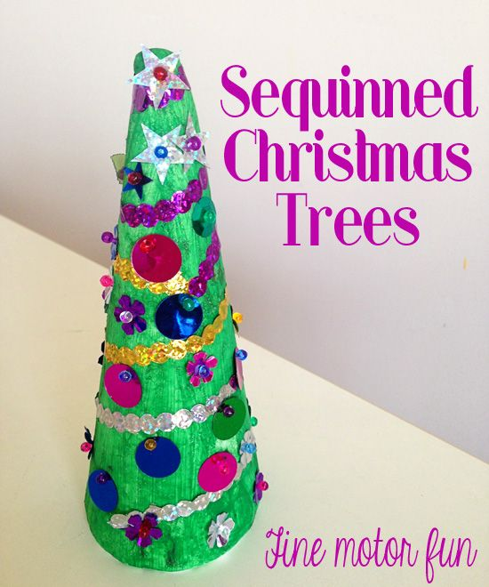 Holiday Decorating with Kids: Simple Sequinned Christmas Trees