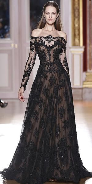 ac75472f2f9 Romantic Long Sleeves Off the Shoulder Lace A Line Black Prom Dresses