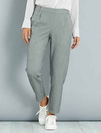 Pantalón recto con pinzas                             gris Mujer  - Kiabi
