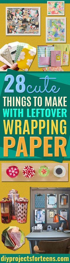 Cool Things to Make With Leftover Wrapping Paper - Easy Crafts, Fun DIY Projects, Gifts and DIY Home Decor Ideas - Don't Trash The Christmas Wrapping Paper and Learn How To Make These Awesome Ideas Instead - Creative Craft Ideas for Teens, Tweens, Teenagers, Boys and Girls http://diyprojectsforteens.com/diy-projects-wrapping-paper