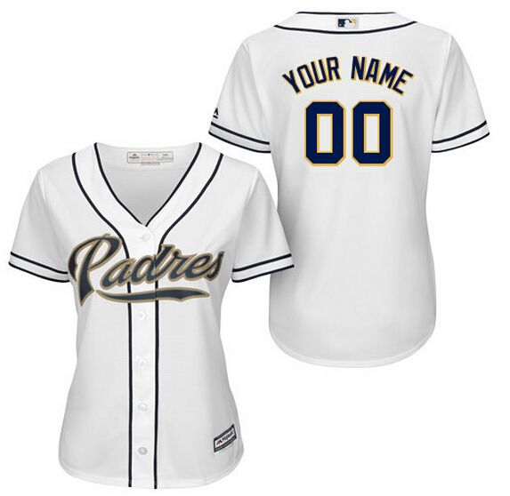 Women's Authentic Personalized San Diego Padres Home White Baseball Jersey