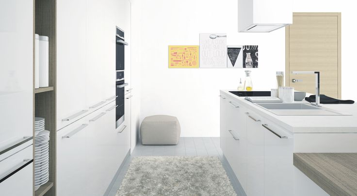 Modern white lacquered kitchen with light wood accents and open shelving by Hans Krug
