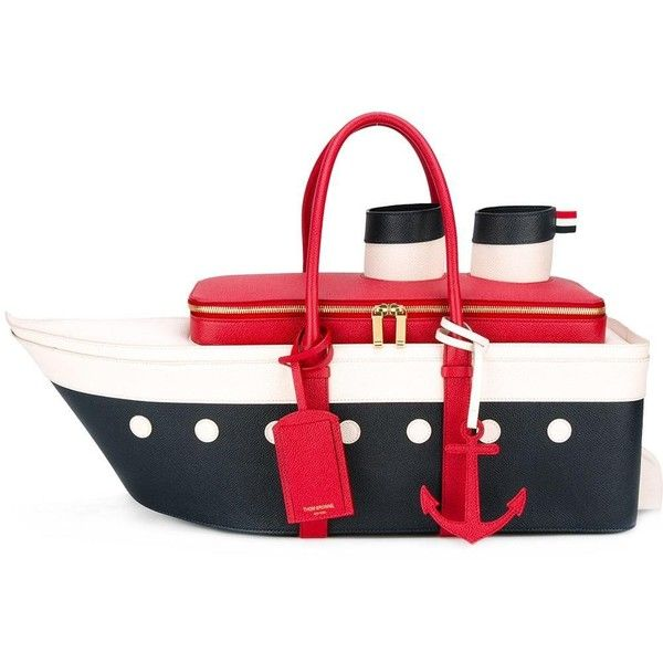 Thom Browne boat tote ($2,662) ❤ liked on Polyvore featuring bags, handbags, tote bags, thom browne, blue, white leather tote, blue leather tote bag, leather handbags, blue tote bag and blue leather tote