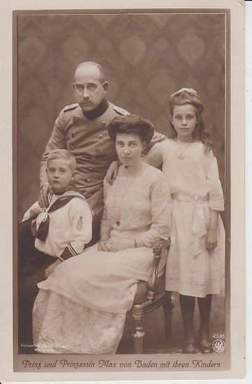 Prince Max von Baden (1867-1929) with his wife Princess Marie Louise of Hanover, and Cumberland.  Also their children,  Princess Marie and Prince Berthold.  Prince Max was originally a suitor for the hand of Princess Alix of Hesse, Queen Victoria's granddaughter.  Instead Princess Alix married Tsar Nicholas II of Russia.  Bad choice, Alix.