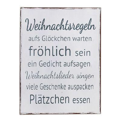 Schild WEIHNACHTSREGELN shabby chic Holzschild Weihnachten - Motiv 1