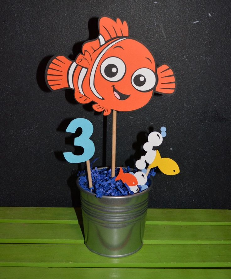 Finding Nemo Centerpiece with child's age by UniquePartyCraft on Etsy https://www.etsy.com/listing/268453942/finding-nemo-centerpiece-with-childs-age