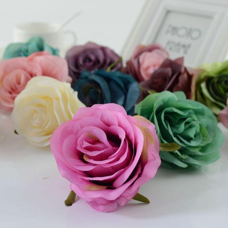 1 unids flores Artificiales rosas de cabeza para el hogar coche De La Boda decoración de navidad Año nuevo Decorativo ramo de Novia accesorios