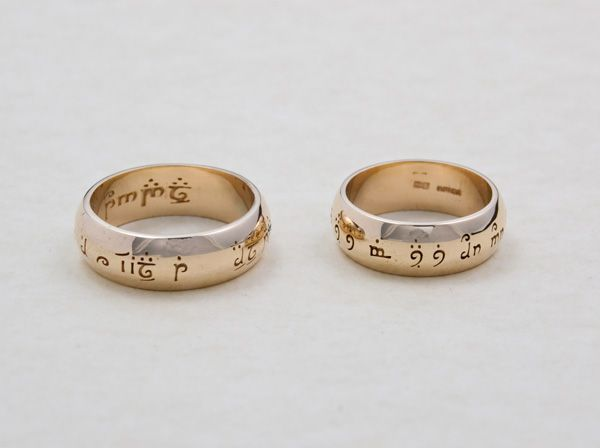 wedding rings custom wedding rings in 14ct gold with personal inscriptions as