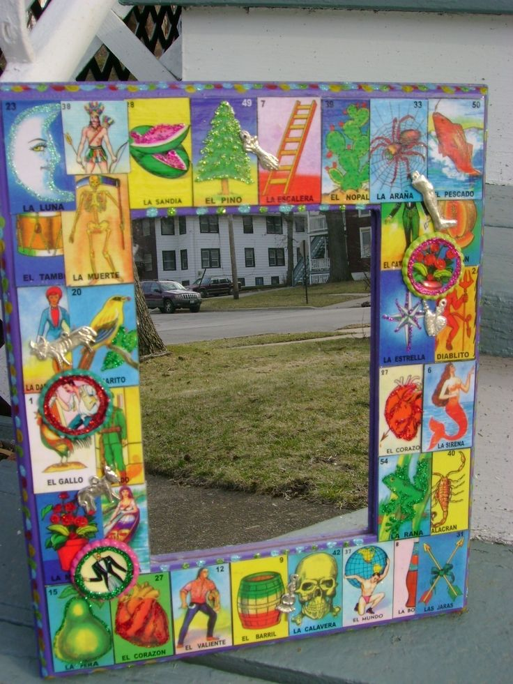 Hoping to make my own 'loteria' frame mirror for the entryway