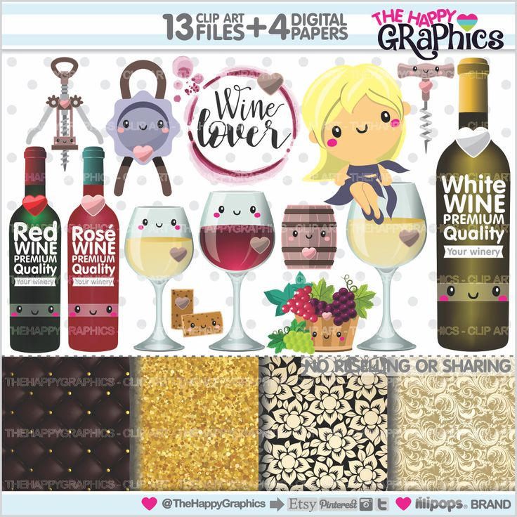 Wine Clipart, Wine Graphics, COMMERCIAL USE, Kawaii Clipart, Planner Accessories, Wine Party, Wine Lover Clipart, Drink Clipart, Alcohol