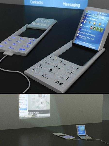 Projector Cell Phone Concept Cool extra slim concept cell phone equipped with rotating screen with built-in projector; an ideal tool for fie...
