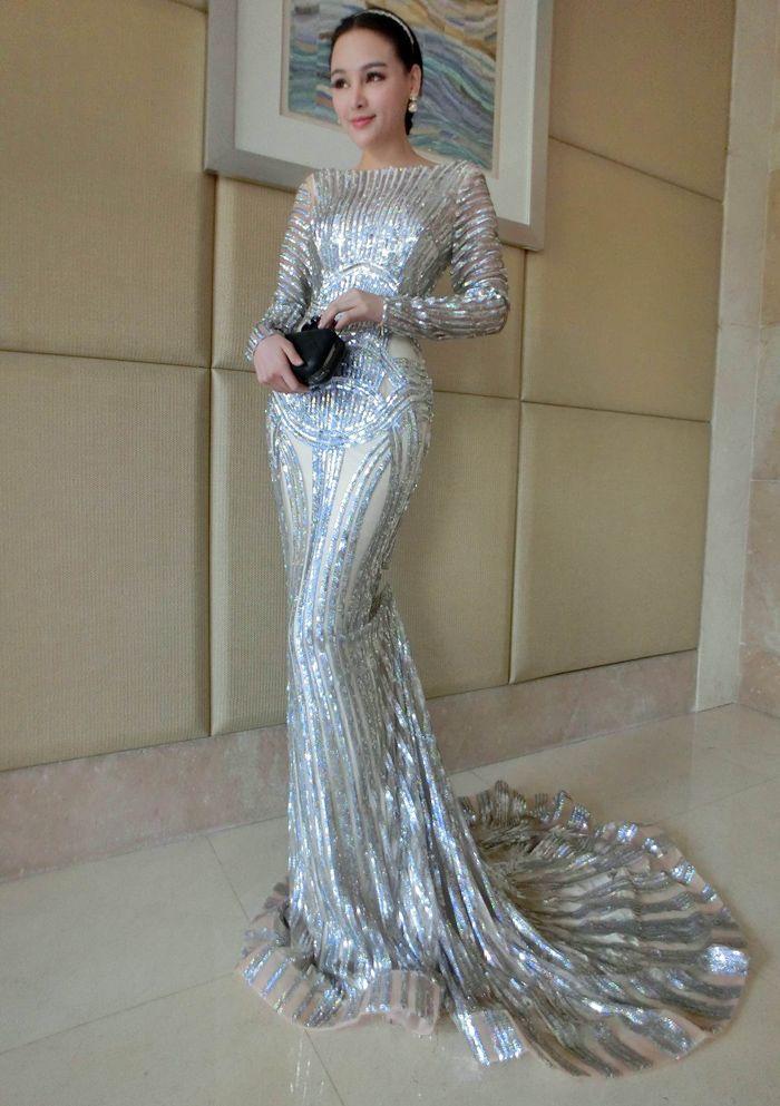 2143919765ff6 Luxury Silver Prom Dress,Mermaid Prom Dresses, Long Sleeve Sheer ...