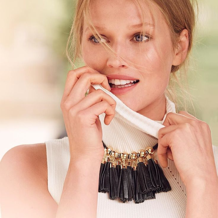 "Pull off two of the season's biggest trends with one powerful piece. Our fringed leather necklace makes every outfit a little bit cooler. Do the unexpected and wear it with a ribbed turtleneck. Leather fringe statement necklace Approx. 18"" in length with 3.5"" extender Leather; lobster close; brass; steel Custom designed exclusively for WHBM. Handcrafted with nickel-free and lead-free metal.  female jewelry shoes & accessories necklace Black/Gold We've never met a statement necklace we didn't…"