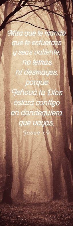 Josué 1:9 Mira que te mando que te esfuerces y seas valiente; no temas ni desmayes, porque Jehová tu Dios estará contigo en dondequiera que vayas.♔