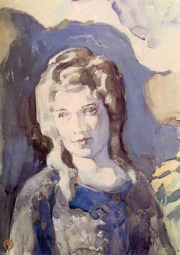 Картины художника Борисова-Мусатова. Дама в голубом. 1904