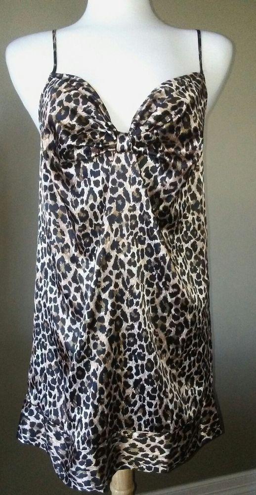 2a8c9bce5dcdf8 Victoria s Secret Silky Leopard Print Cheetah Intimates Tank Top Sleepwear  Sz M  VictoriasSecret  Sexy