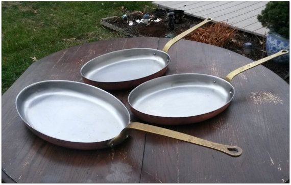 Trio of copper pansVintage Copper Cookware by mermaidwatch on Etsy Vintage home goods and accessories. These would make great additions to your farmhouse chic or French country décor. For those who understand wonderful richly aged patina.