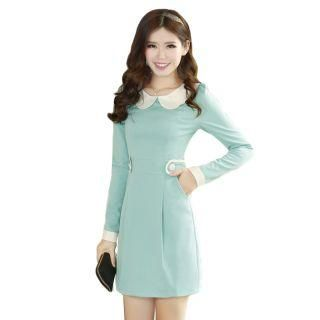 Contrast-Collar Double-Buttoned Dress